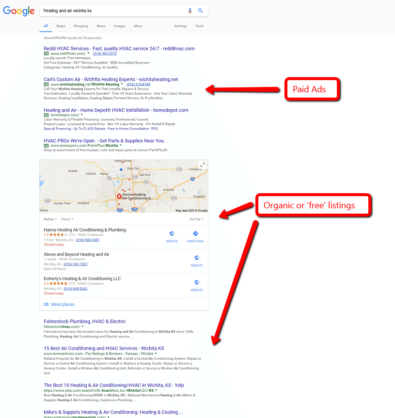 free vs paid ads - Are you tired of seeing Cooks, Hannah and Fahnestock at the top of Google?