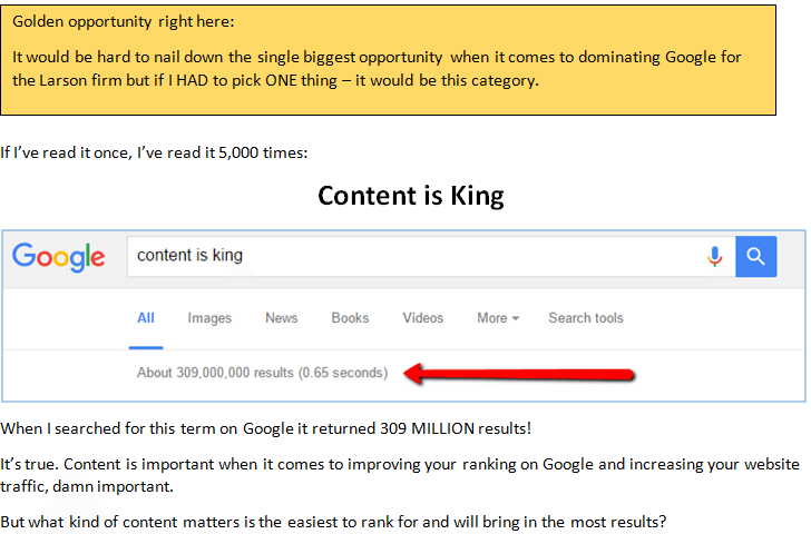 content is king - 7,716 Words on What Will Make Larson & Brown #1 on Google