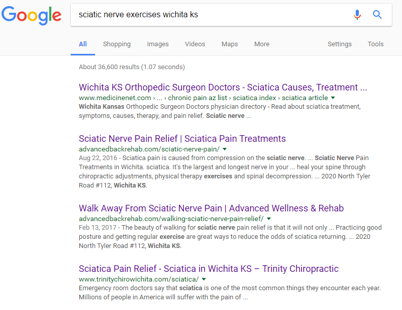 Screenshot of the power of long tail keywords for a spine surgeon