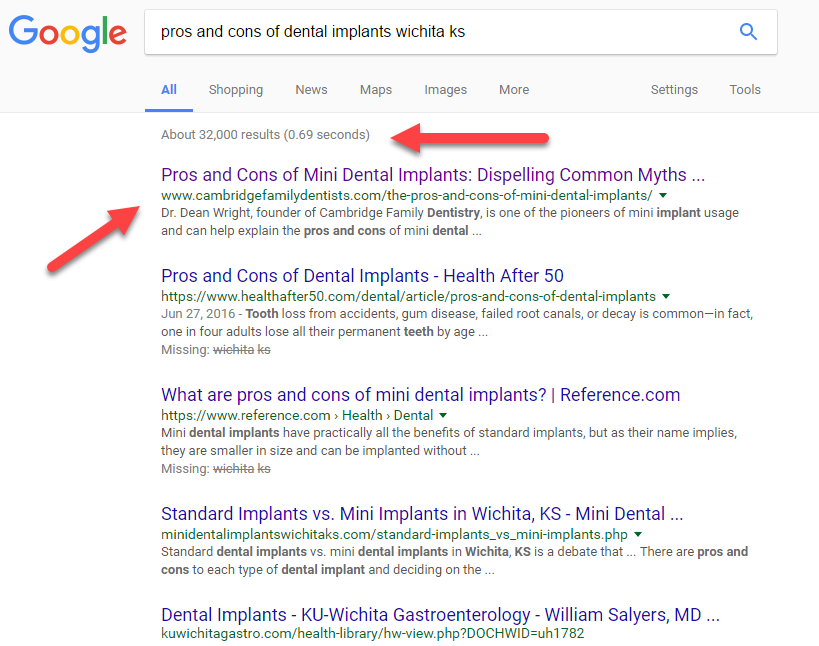 Screenshot of a dentist I did Local SEO for and they are ranking #1 for a long tail keyword.