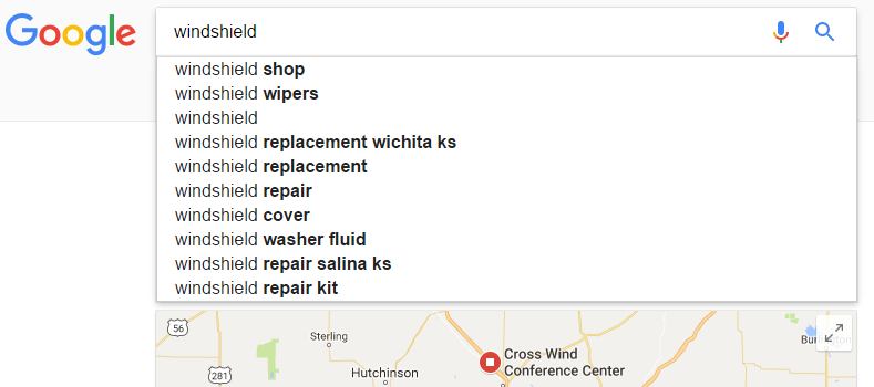 Screenshot of possible long tail keywords related to windshield repair.