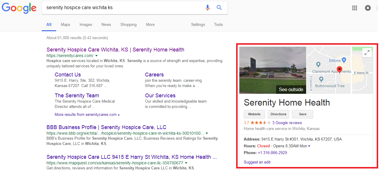2 6 - Step-by-step guide to increase the website traffic, online visibility and Google rankings for Serenity Hospice