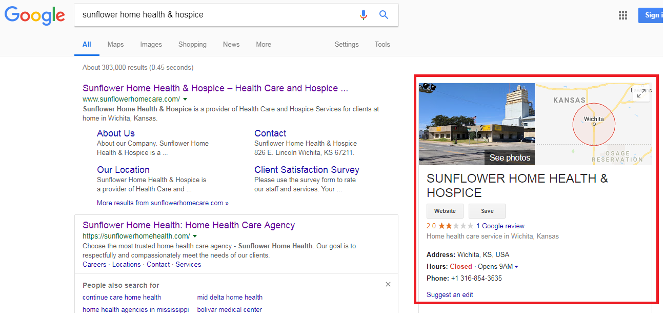 2 7 - Step-by-step guide to increase the website traffic, online visibility and Google rankings for Sunflower Hospice