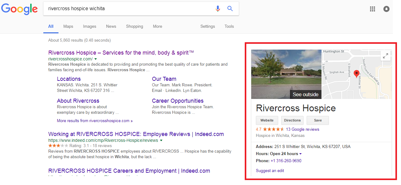 2 9 - Step-by-step guide to increase the website traffic, online visibility and Google rankings for Rivercross Hospice