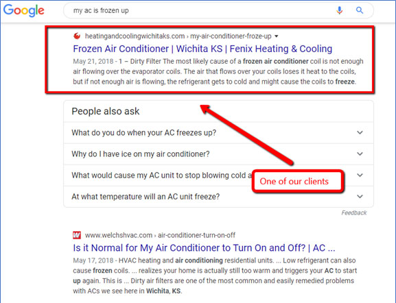 Google AC frozen search - Best HVAC companies in Phoenix, AZ