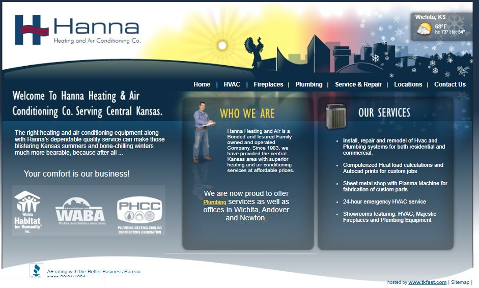 Hanna Homepage 2013 - Are you tired of seeing another OKC HVAC company at the top of Google?