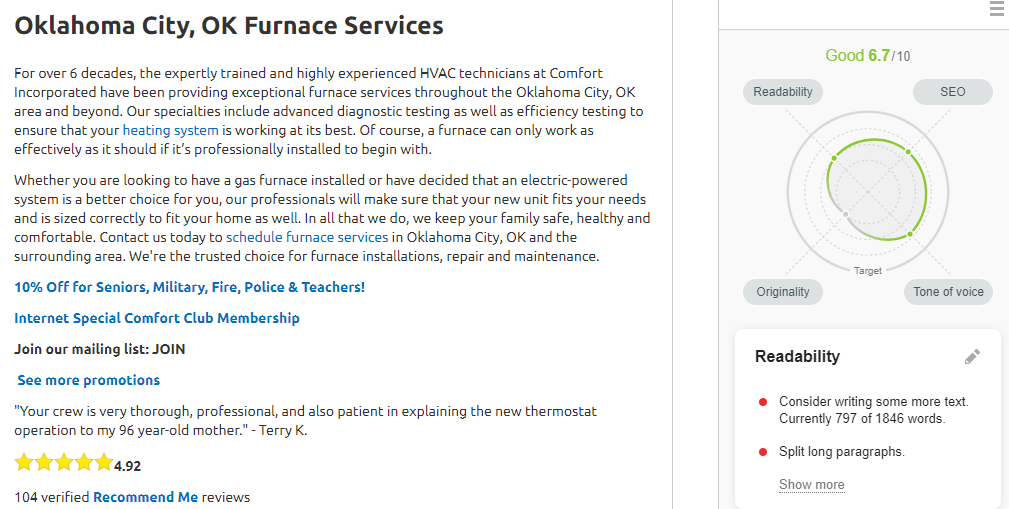 Opt Comfort newfurnace - Are you tired of seeing another OKC HVAC company at the top of Google?