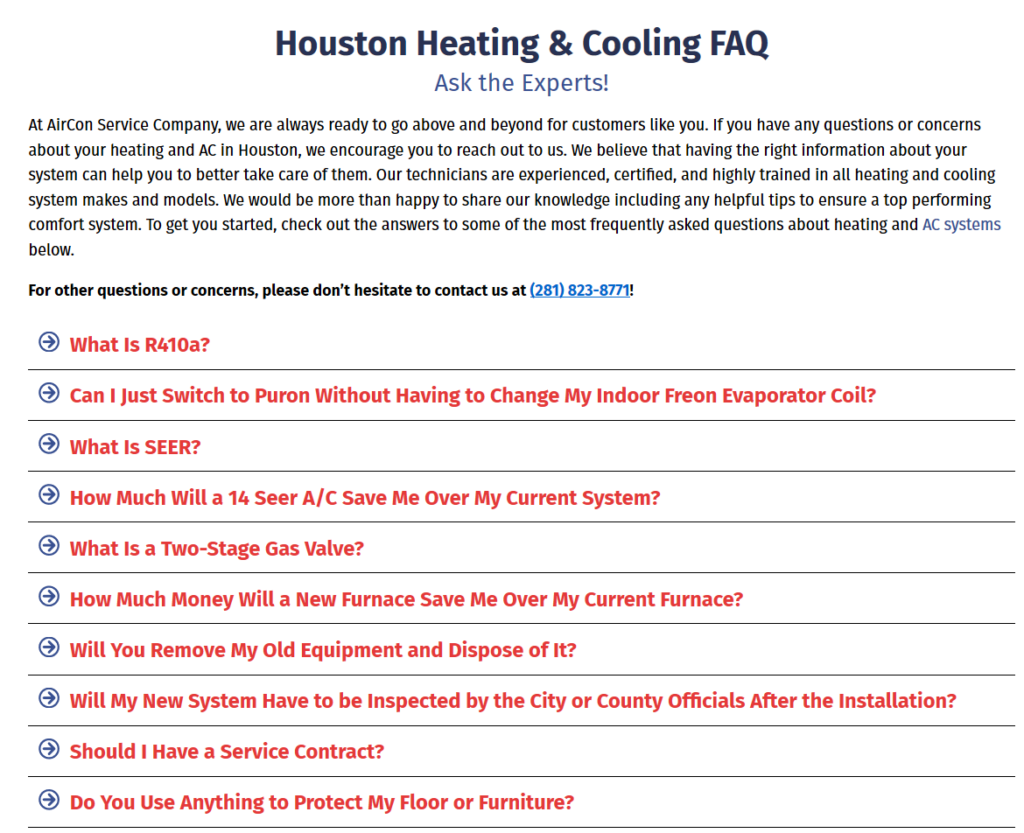 Content AirCon FAQ 1024x833 - Are you tired of seeing another Houston HVAC company at the top of Google?