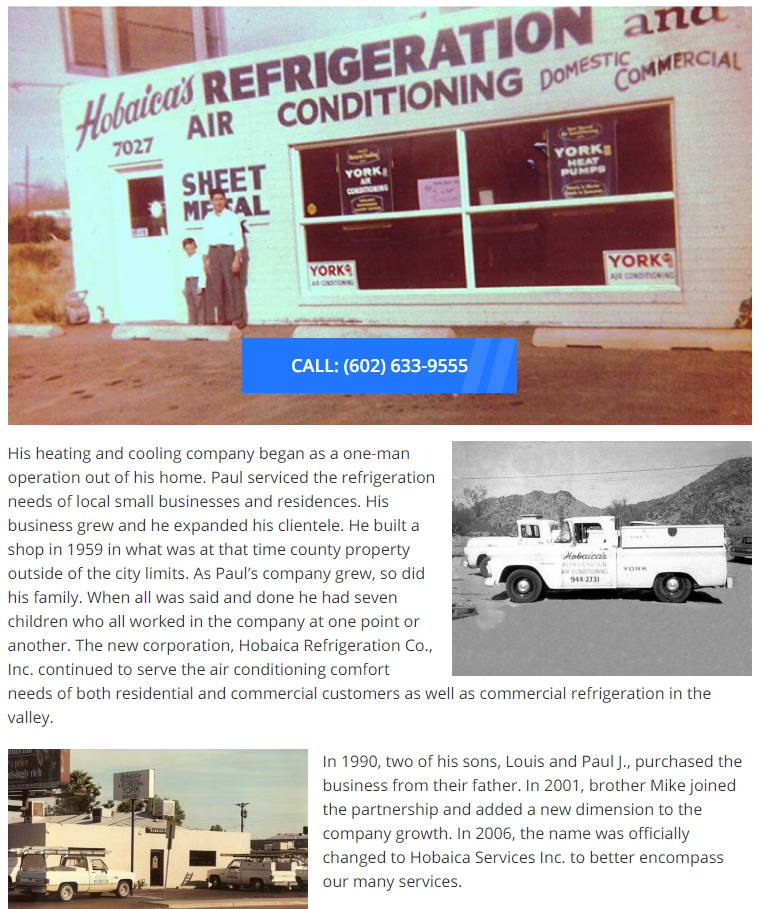 TELL HObiaca history - Best HVAC companies in Phoenix, AZ