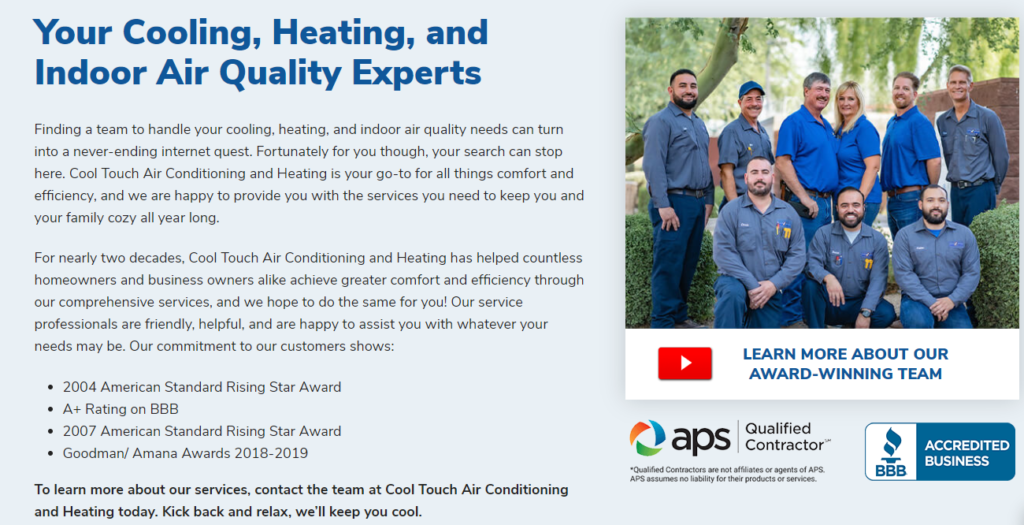 WEB COol Touch Trust 1024x525 - Are you tired of seeing another Phoenix HVAC company at the top of Google?