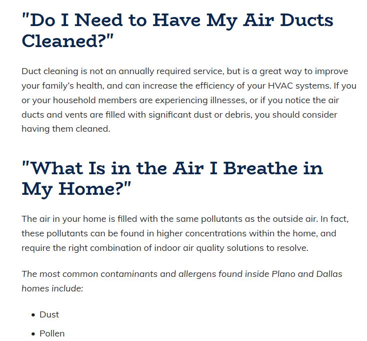 Content Aire FAQ - Best HVAC Companies in Dallas, TX