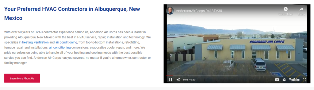 VID anderson homepage 1024x293 - Are you tired of seeing another Albuquerque HVAC company at the top of Google?