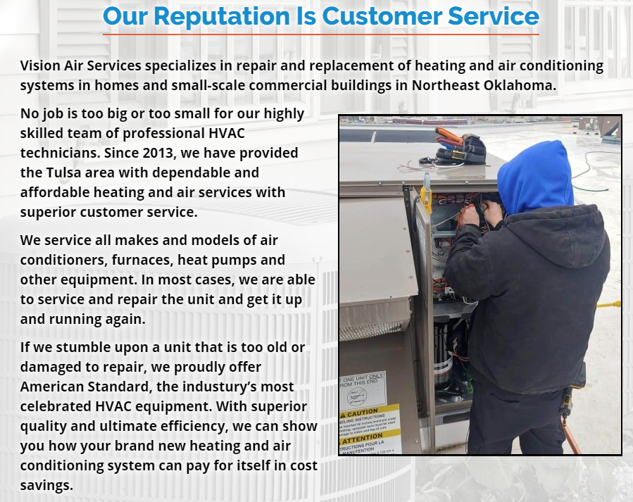 CONTENT Vision ONESERVICEPAGE - Best HVAC Companies in Tulsa, OK