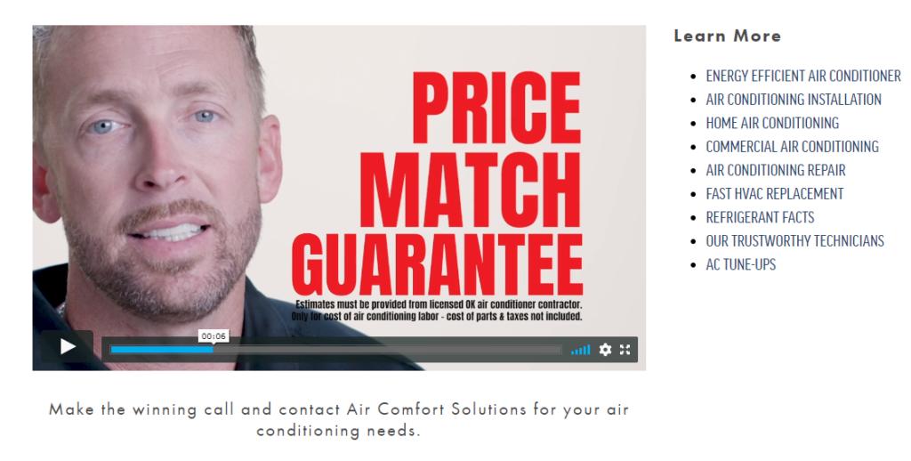 CTA AirCOmfSOlutions VIDEO matchprice 1024x518 - Best HVAC Companies in Tulsa, OK
