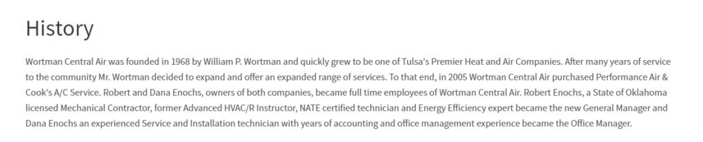 TELL Wortman History 1024x208 - Best HVAC Companies in Tulsa, OK